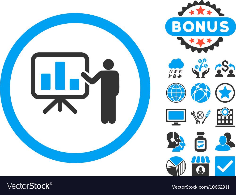 Bar Chart Presentation Flat Icon with Bonus