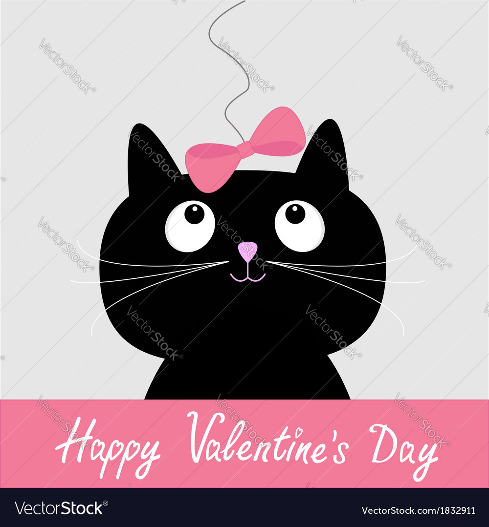 Black cat with pink bow Happy Valentines Day