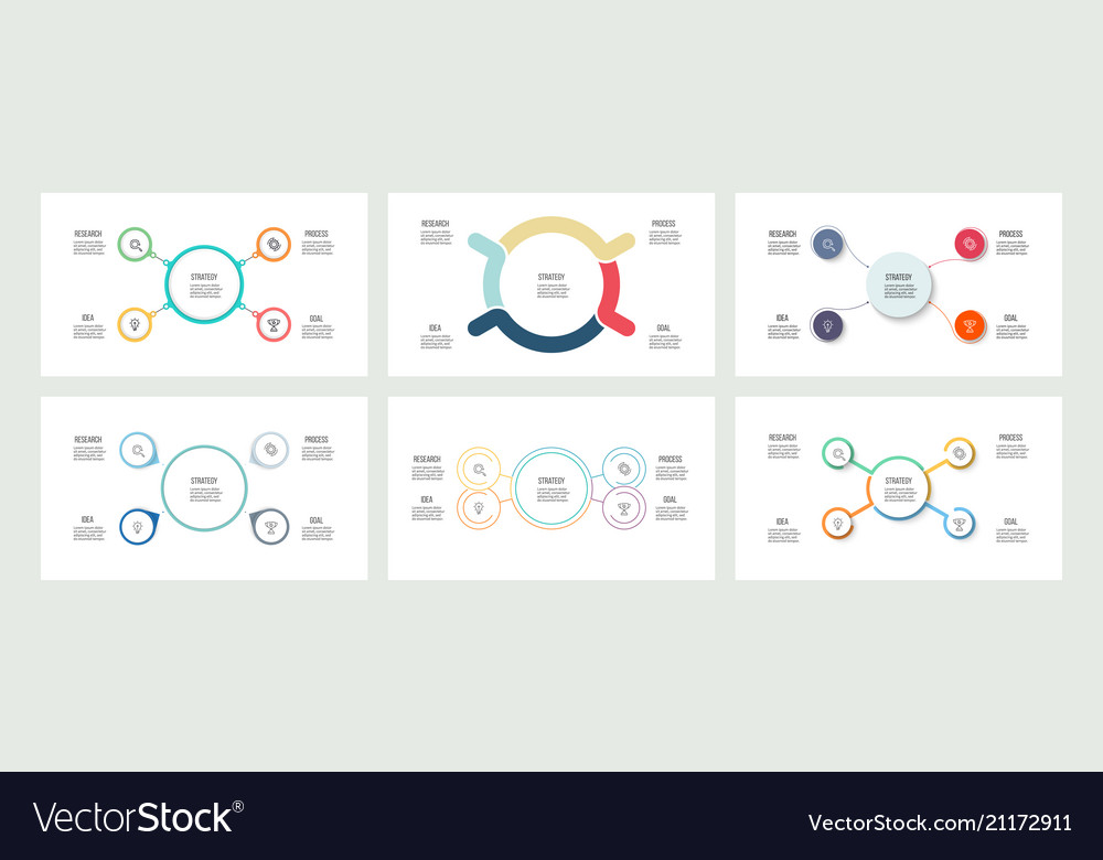 Business infographics organization charts with 4