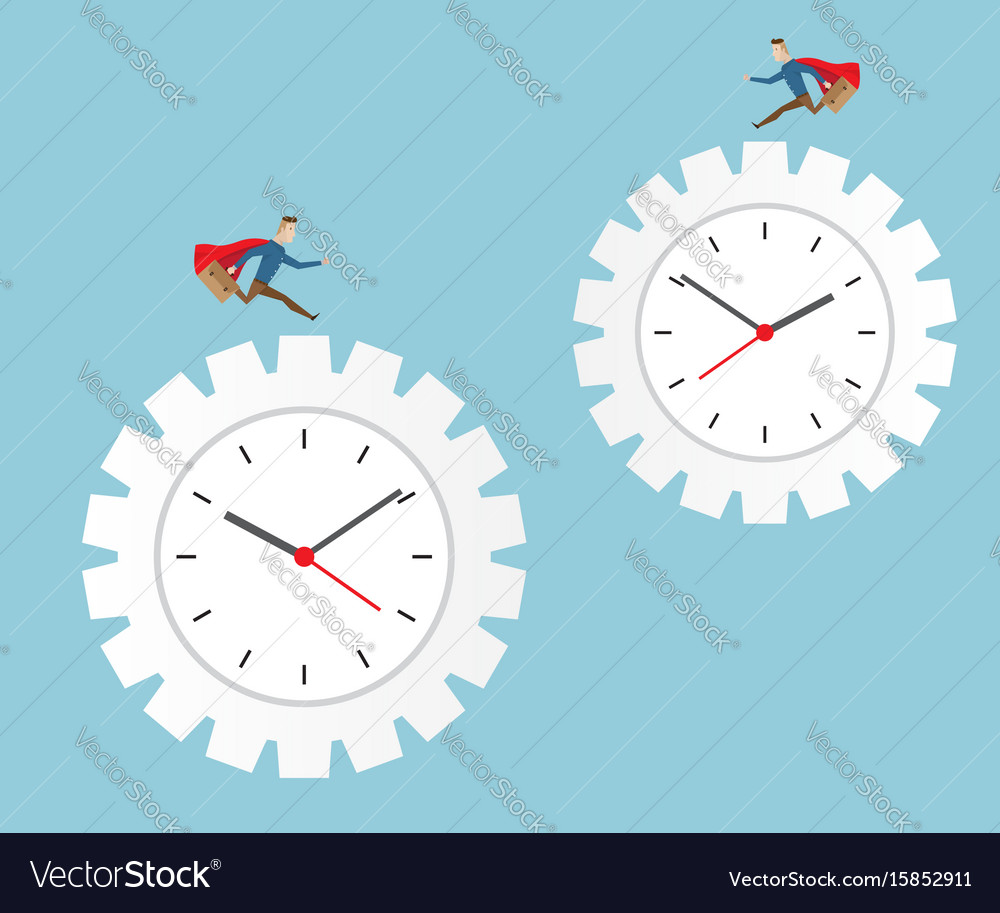 Businessman running on cog gear wheel clock