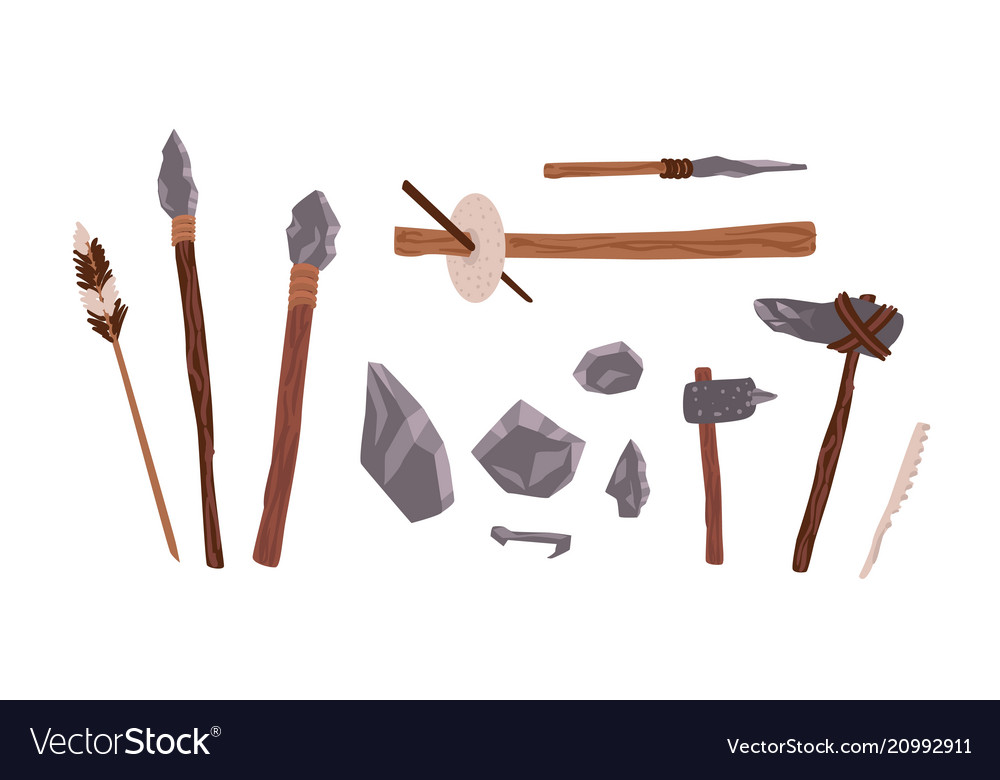 Collection of prehistoric stone tools bundle of