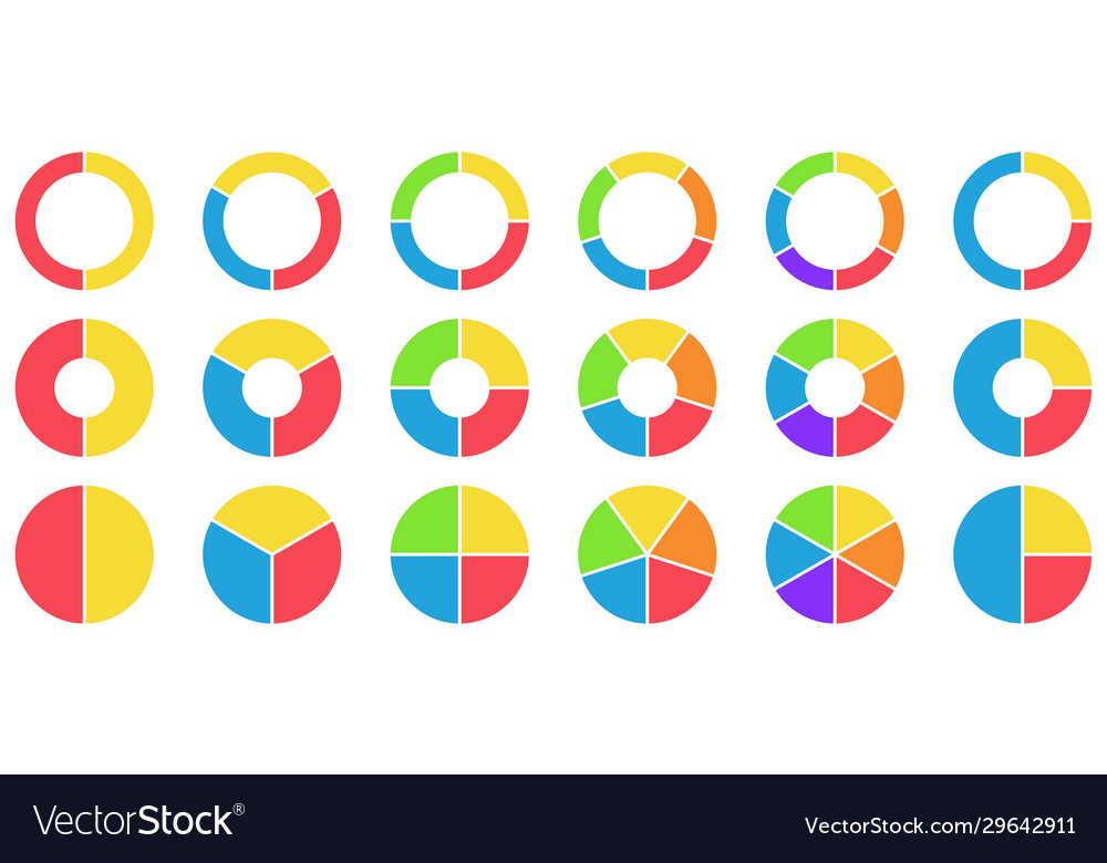 Colorful pie and donut charts circle chart
