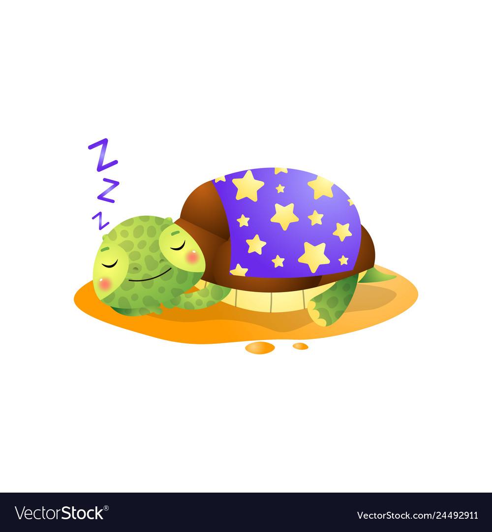 Cute kawai turtle sleeping under blanket isolated