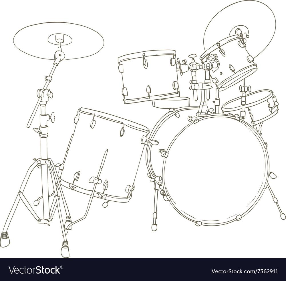 Drum set drawing vector image
