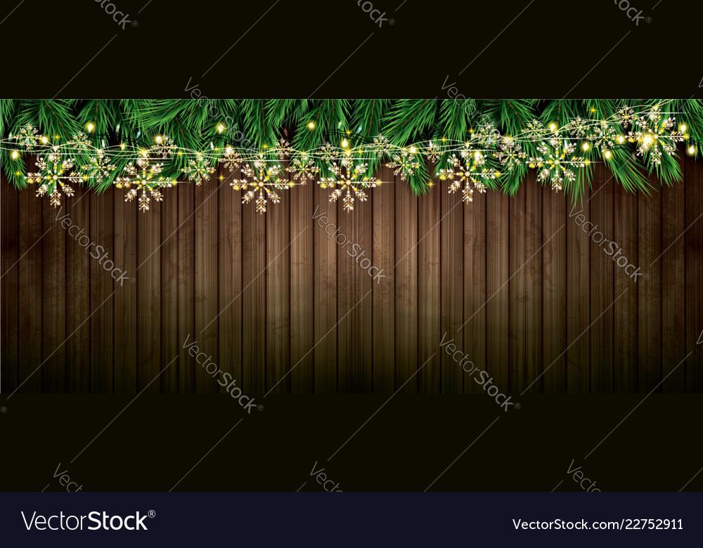 Fir branch with neon lights and golden garland