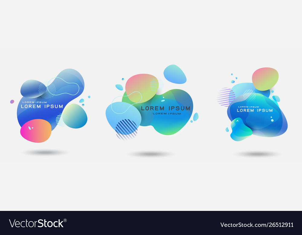 Fluid abstract dynamic shapes set trendy badges