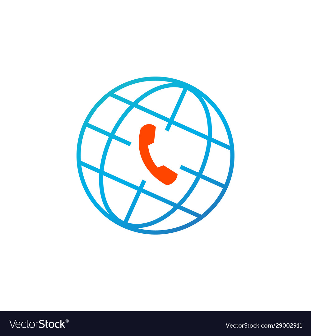 Globe and phone icon global client support call