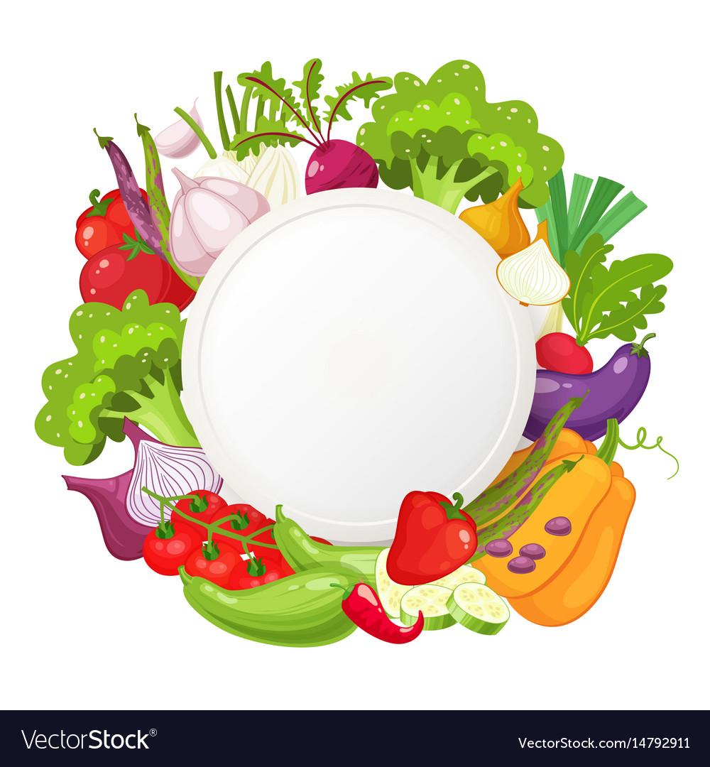Healthy vegetables and vegetarian food round