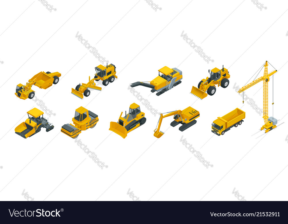 Isometric icons set of construction equipment and