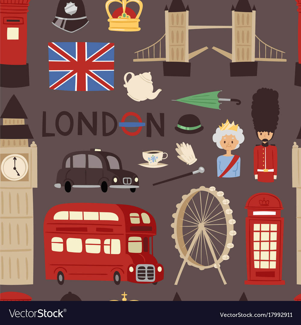 London travel icons english set city flag europe