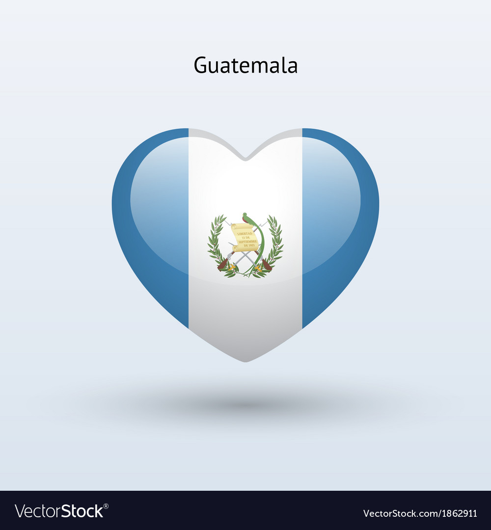 Love Guatemala Symbol Heart Flag Icon Royalty Free Vector