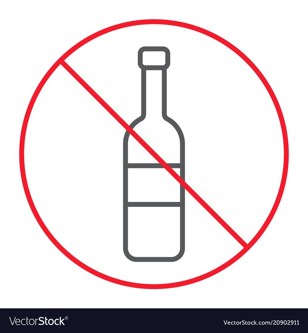 No alcohol thin line icon prohibition forbidden