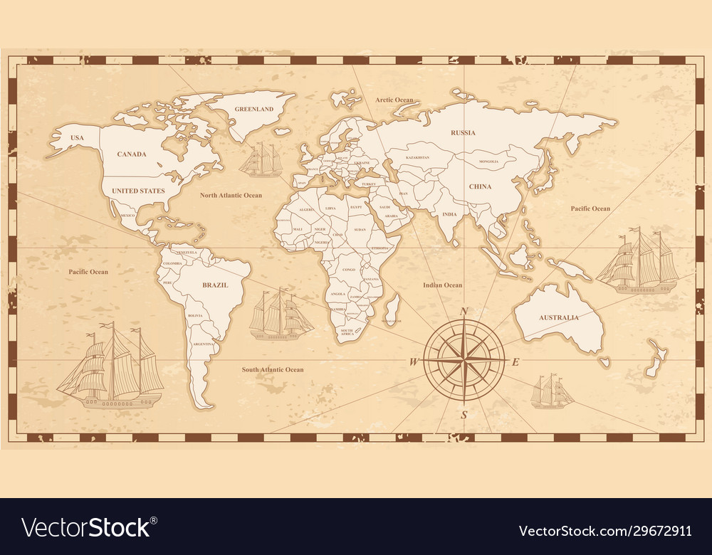 Old world map flat ancient