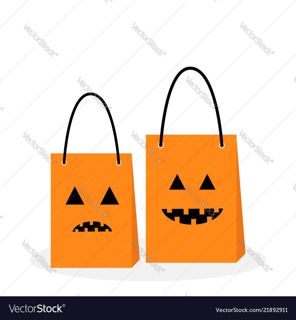 Shopping paper bag handle set pumpkin sad smile