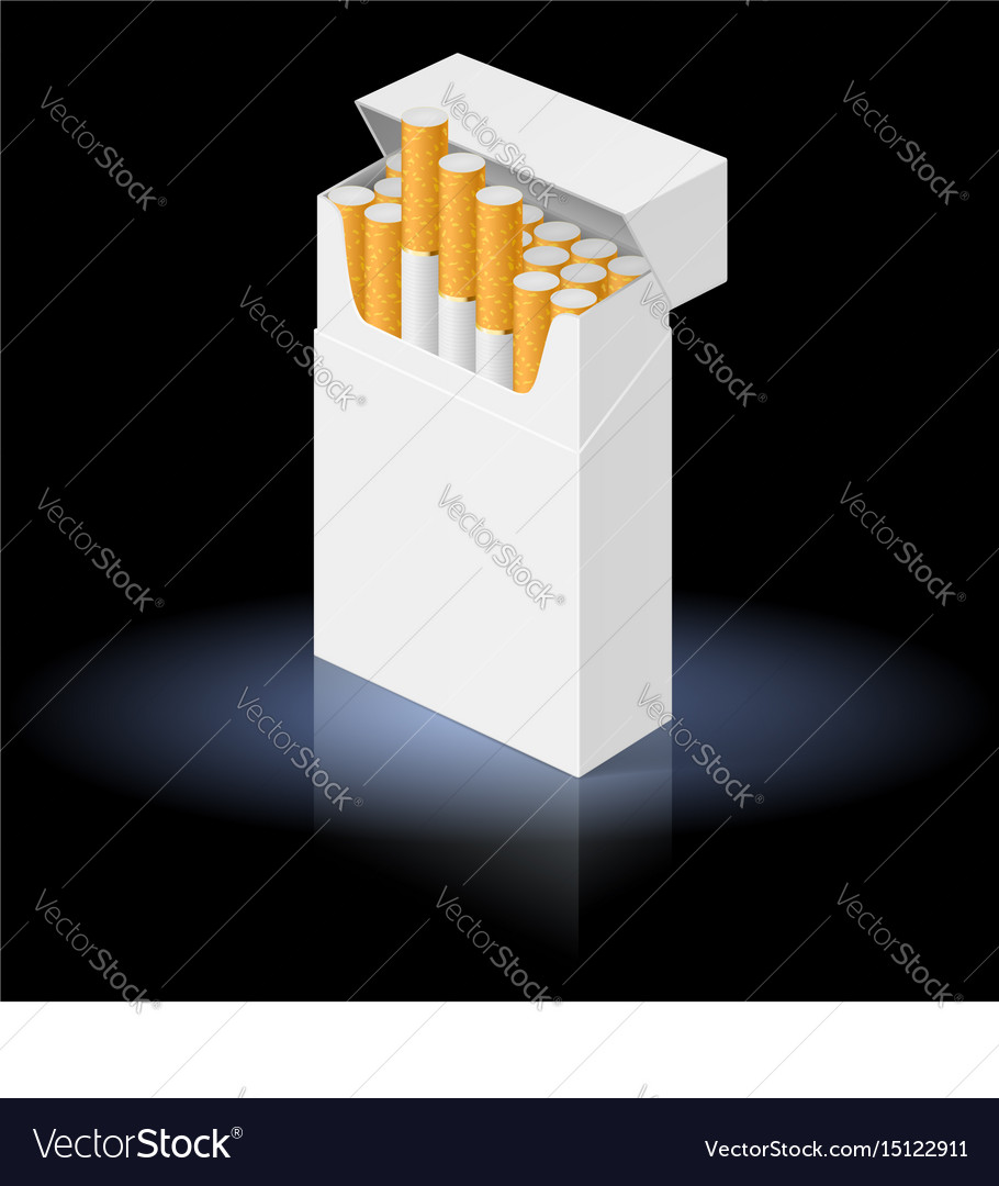 White pack of cigarettes isolated on black