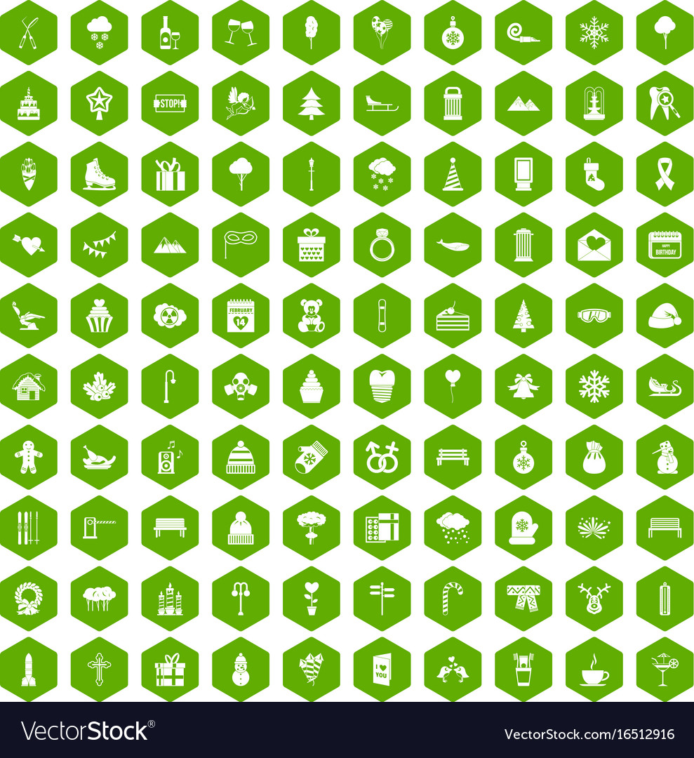 100 winter holidays icons hexagon green