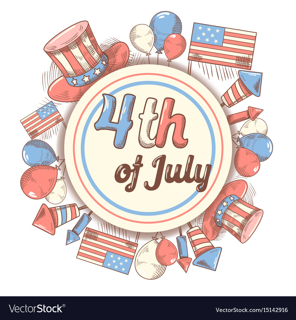 4th of july usa independence day hand drawn design