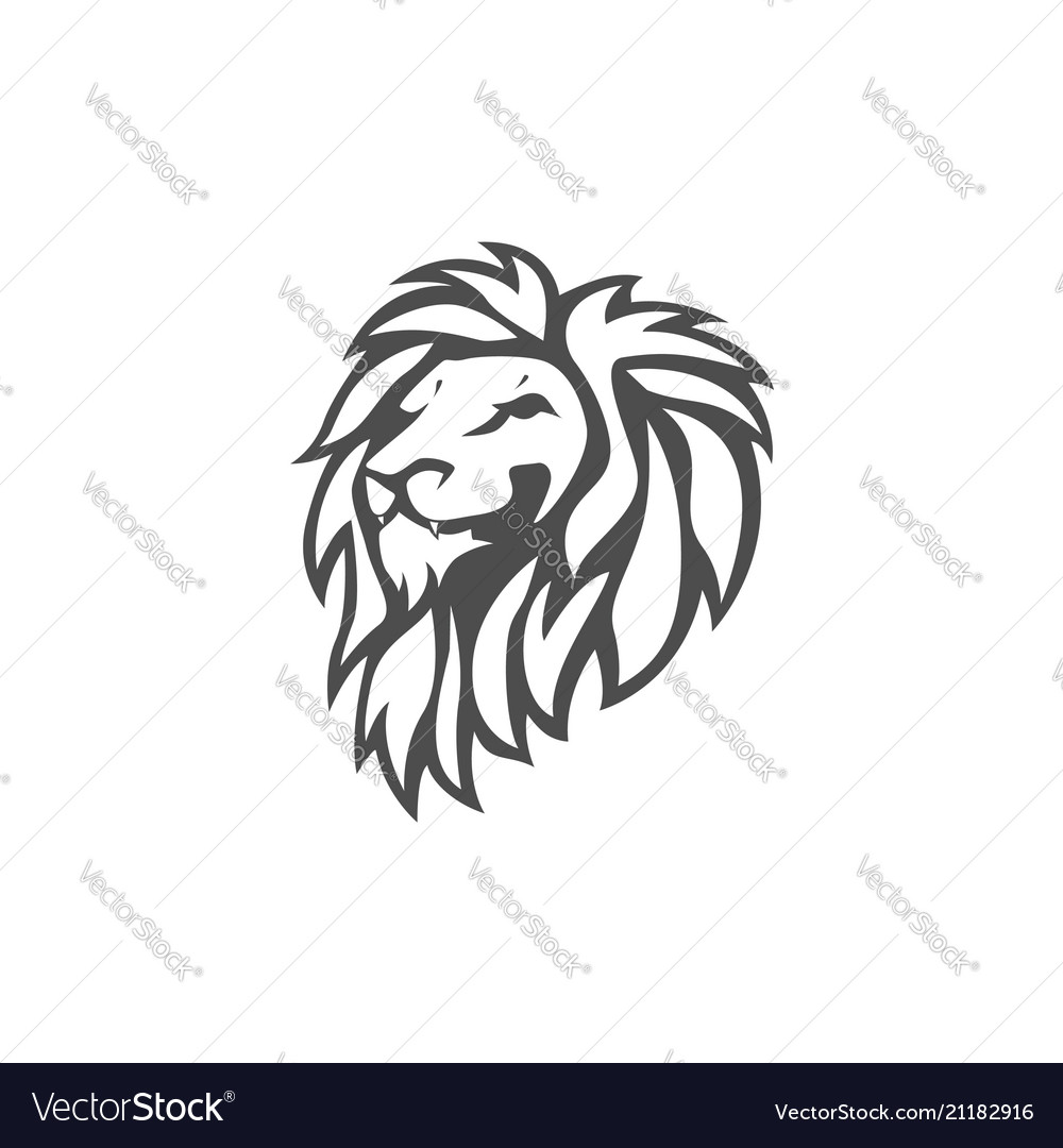 Angry lion head black and white logo design