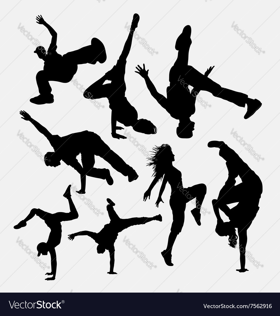 Breakdance performance silhouette
