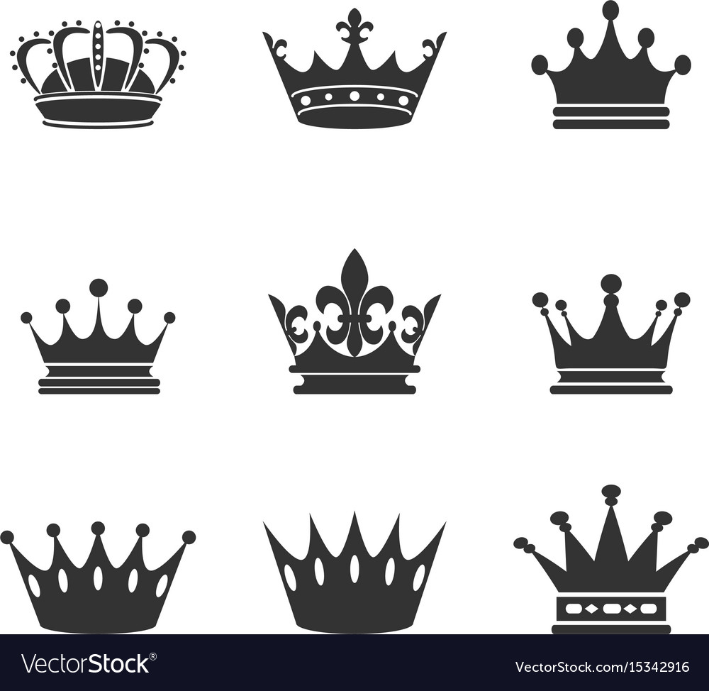 Collection of crown silhouettemonarchy authority