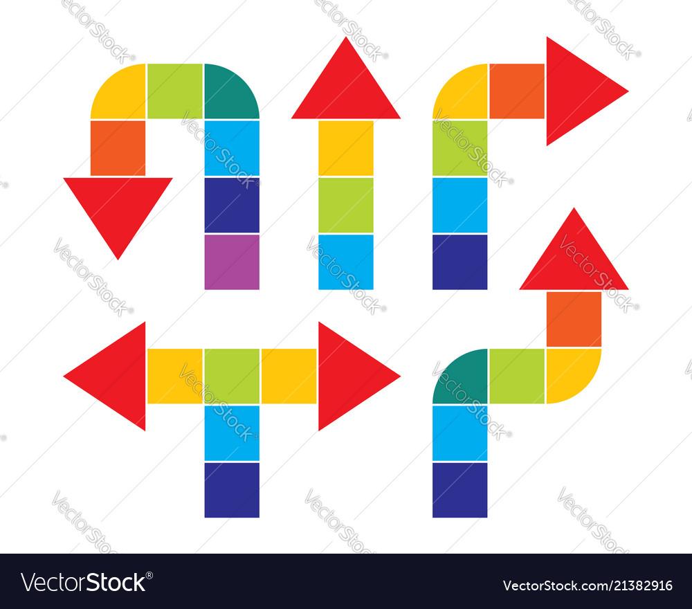 Color arrow rainbow set icons design elements