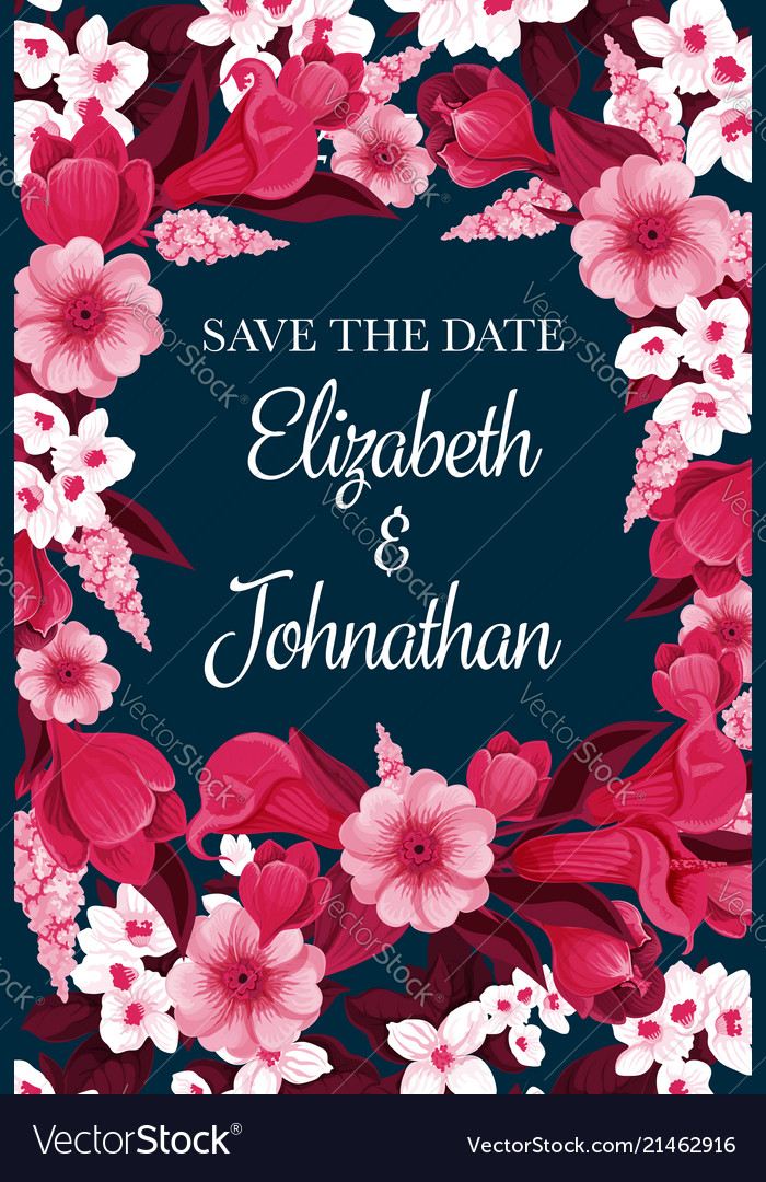 Flowers card for save the date