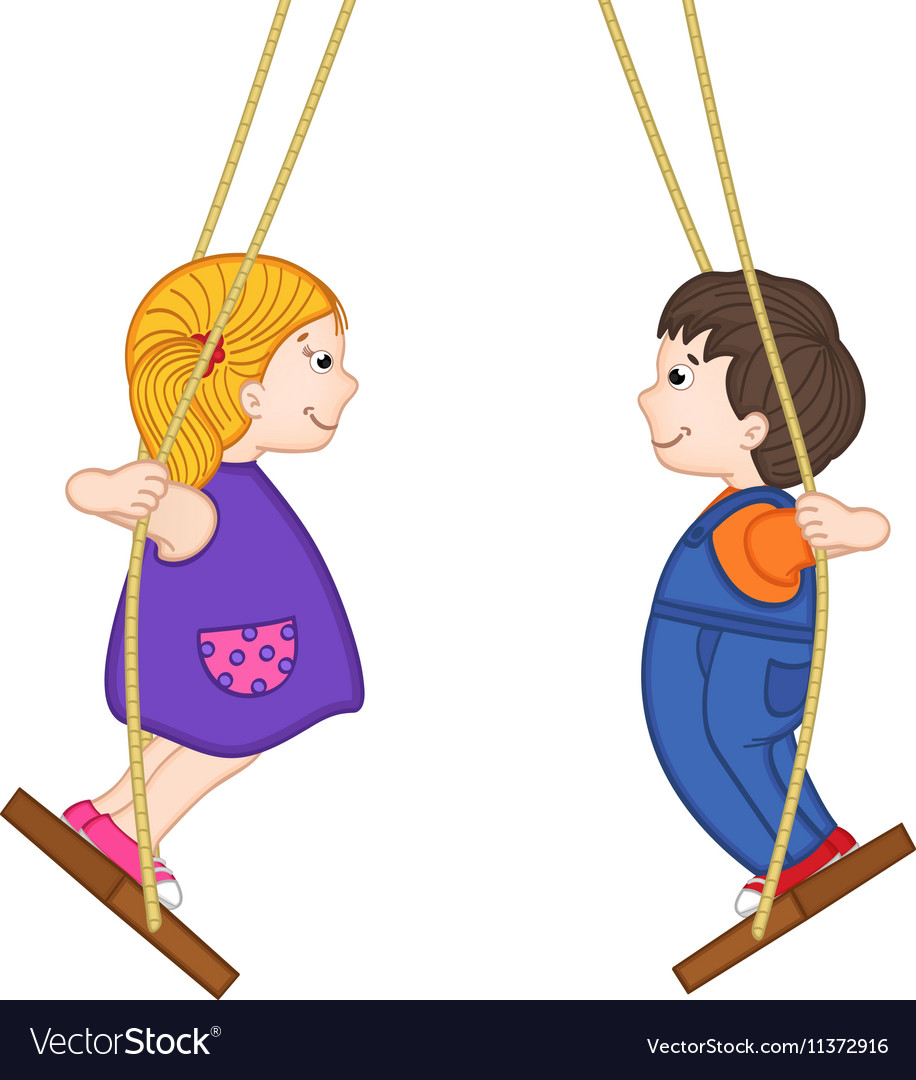Isolated boy and girl standing on swing vector image