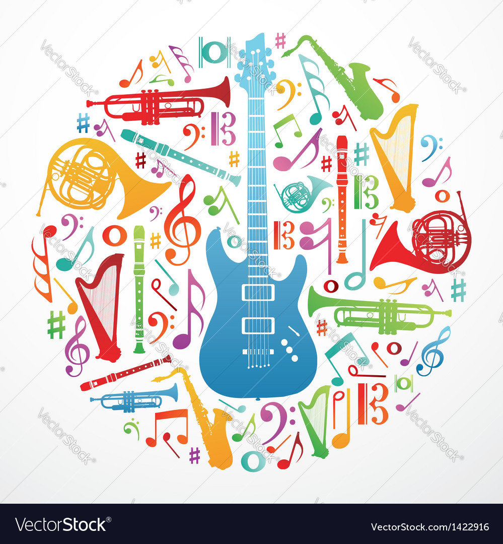 Love for music concept background vector image