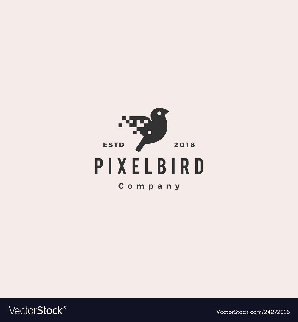 Pixel bird digital logo hipster retro vintage icon