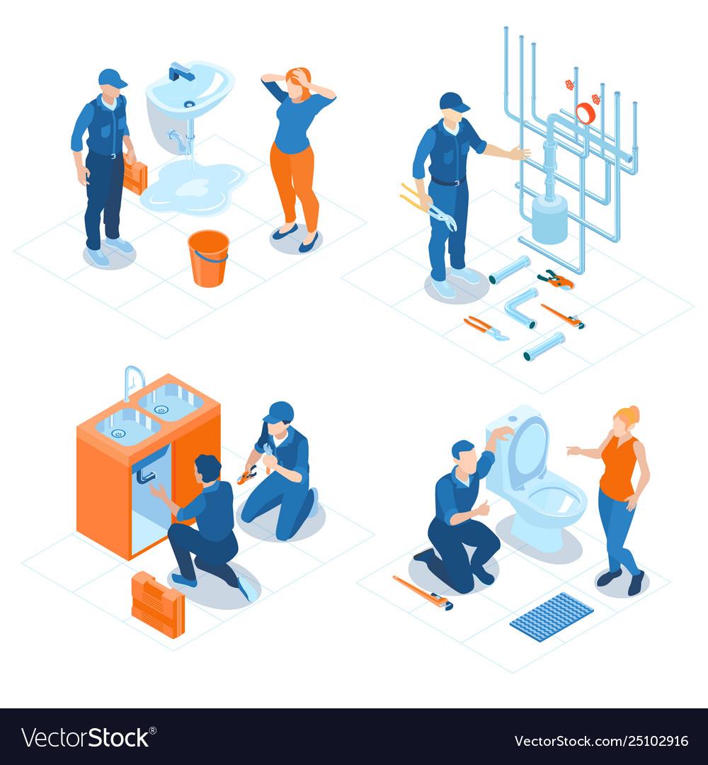 Plumbing service isometric concept