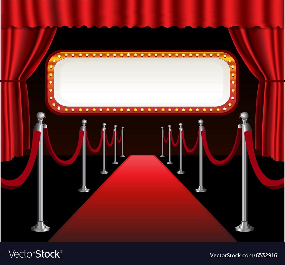 Red carpet movie premiere elegant event red vector image