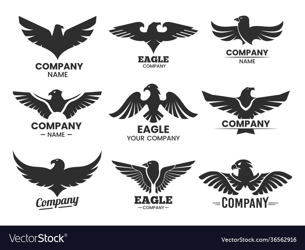 Set black heraldic eagle heads and wings