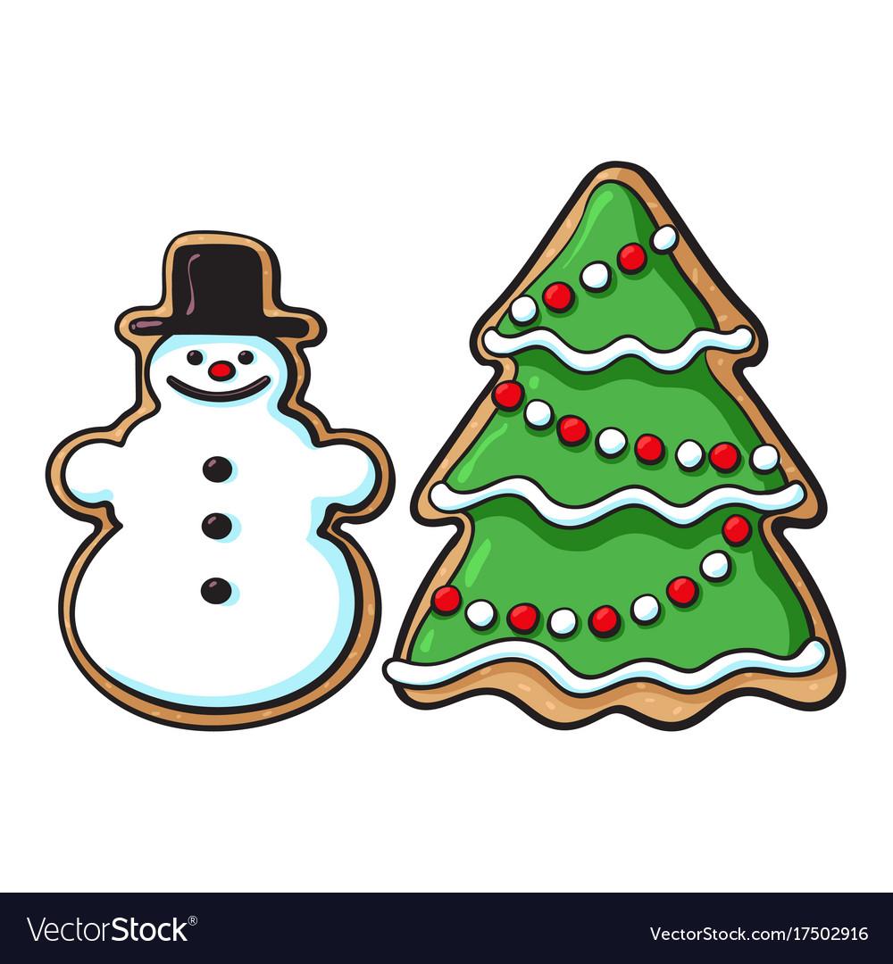 snowman christmas tree glazed gingerbread cookies vector image - Gingerbread Christmas Tree