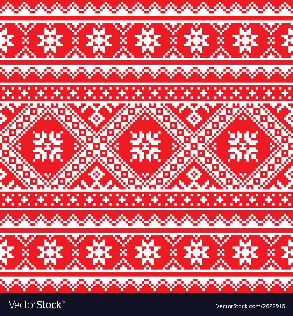 Ukrainian Slavic folk art knitted red and white vector image