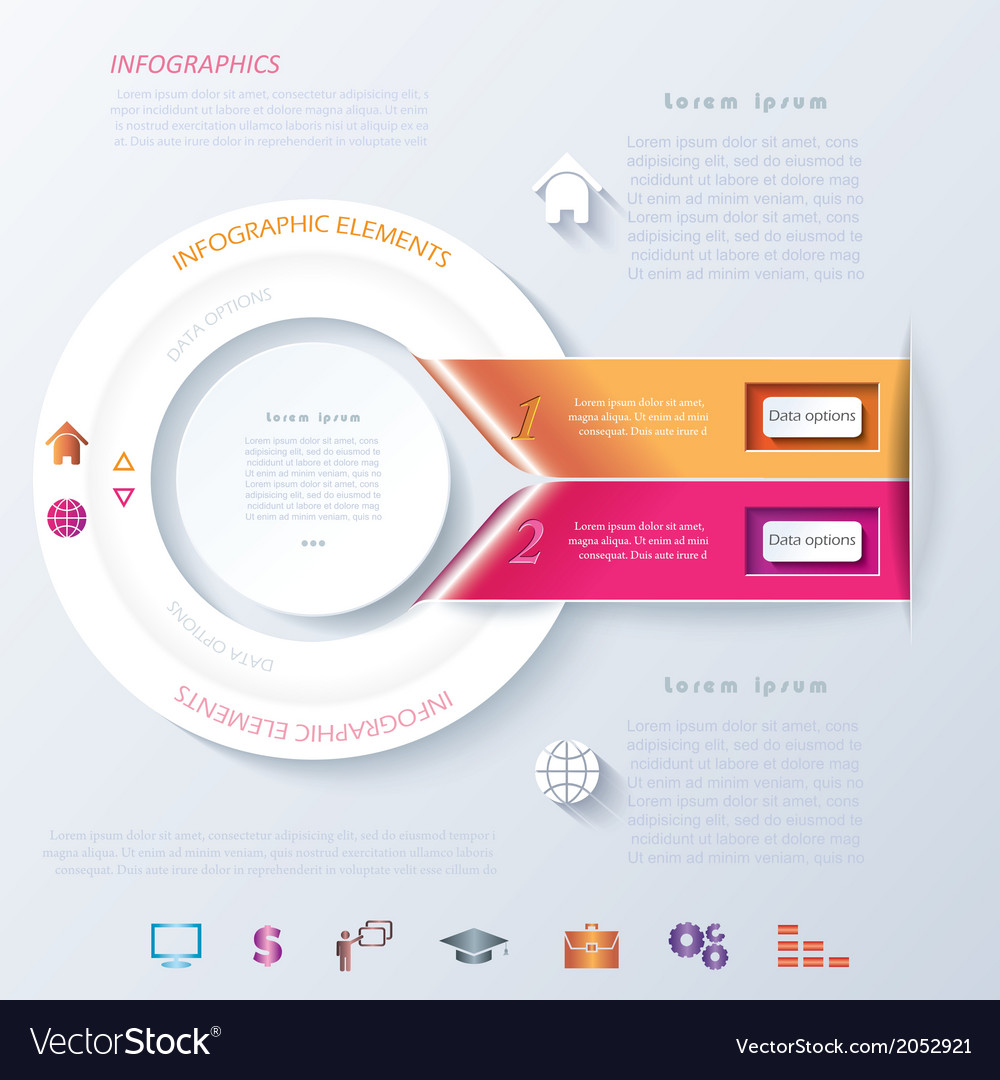 Abstract infographic design with circle and ribbon