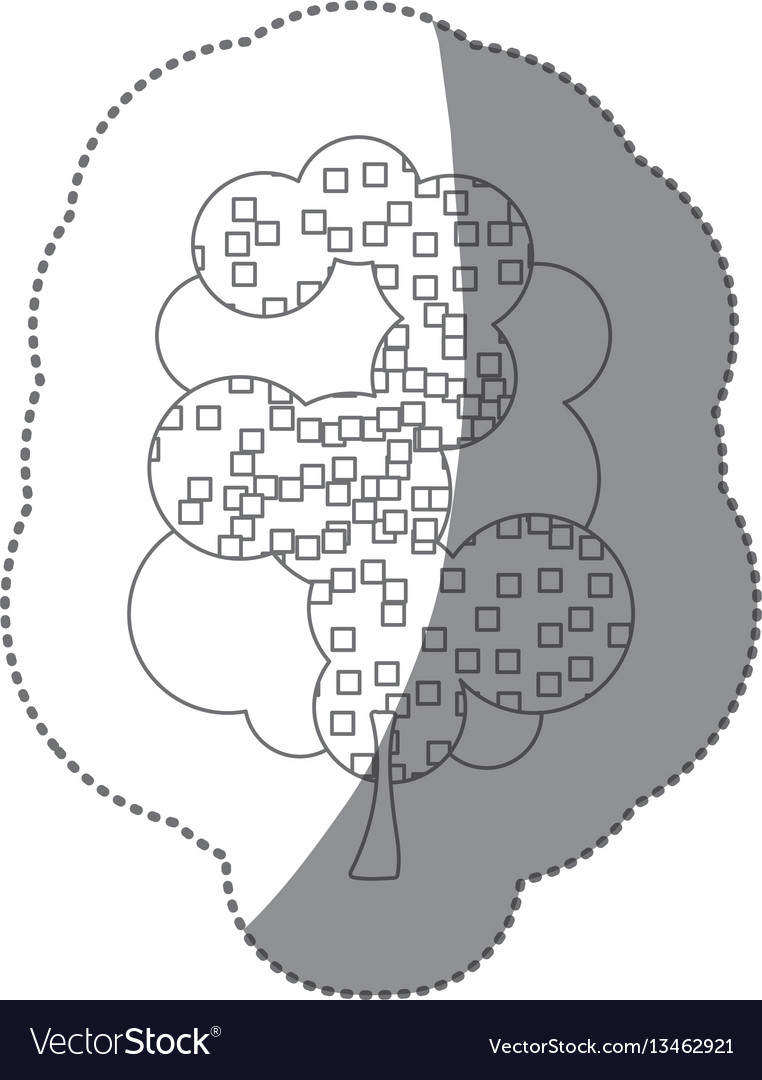 Contour sticker beautiful tree icon vector image
