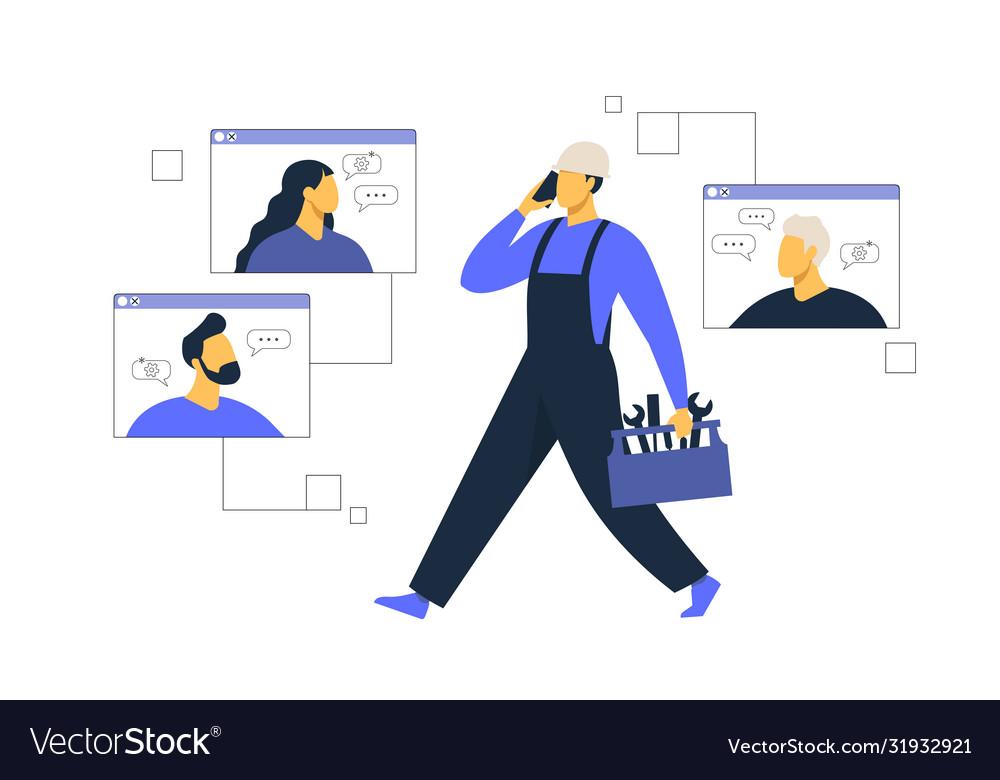 Customer service male hotline operator advises