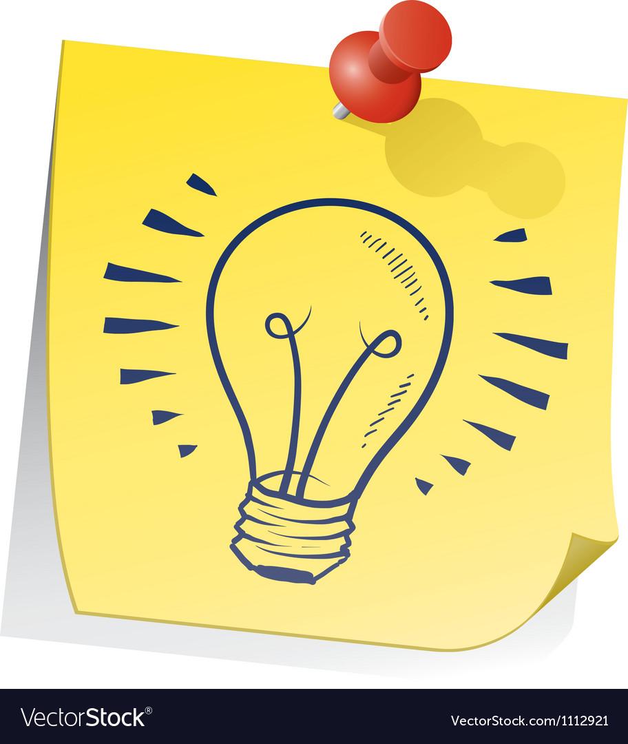 Doodle sticky note lightbulb