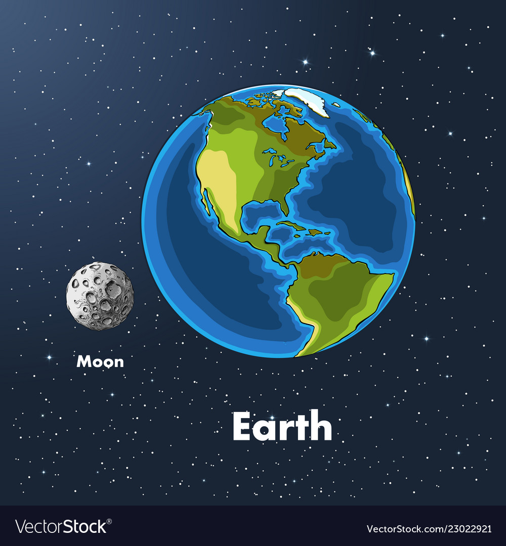 Hand drawn sketch of the planet earth and moon in