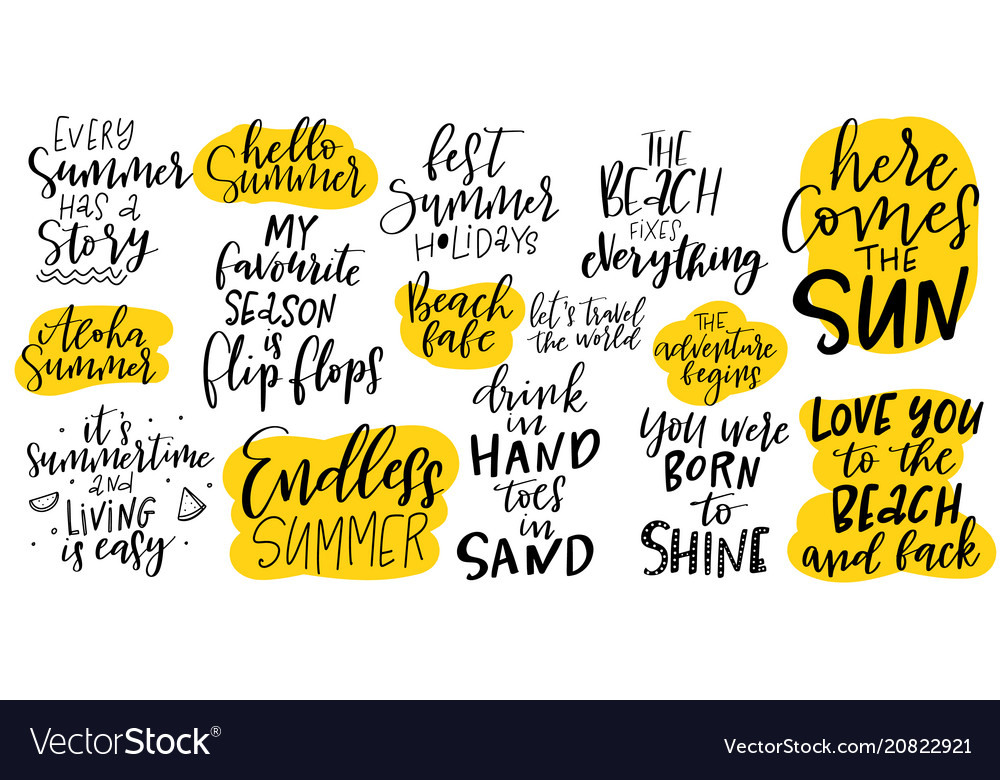 Handdrawn lettering set about summer and holidays