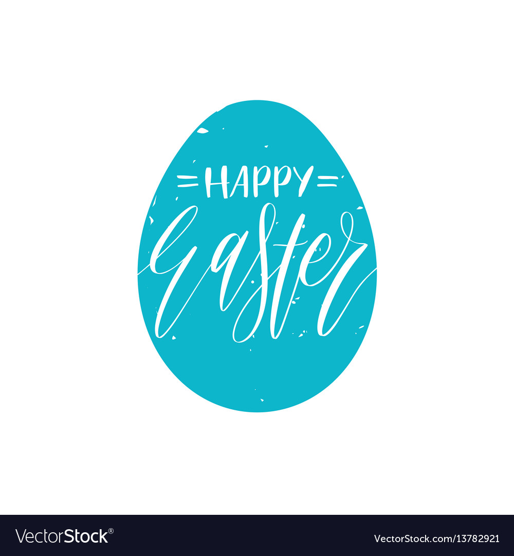 Happy easter greeting card with hand lettering in