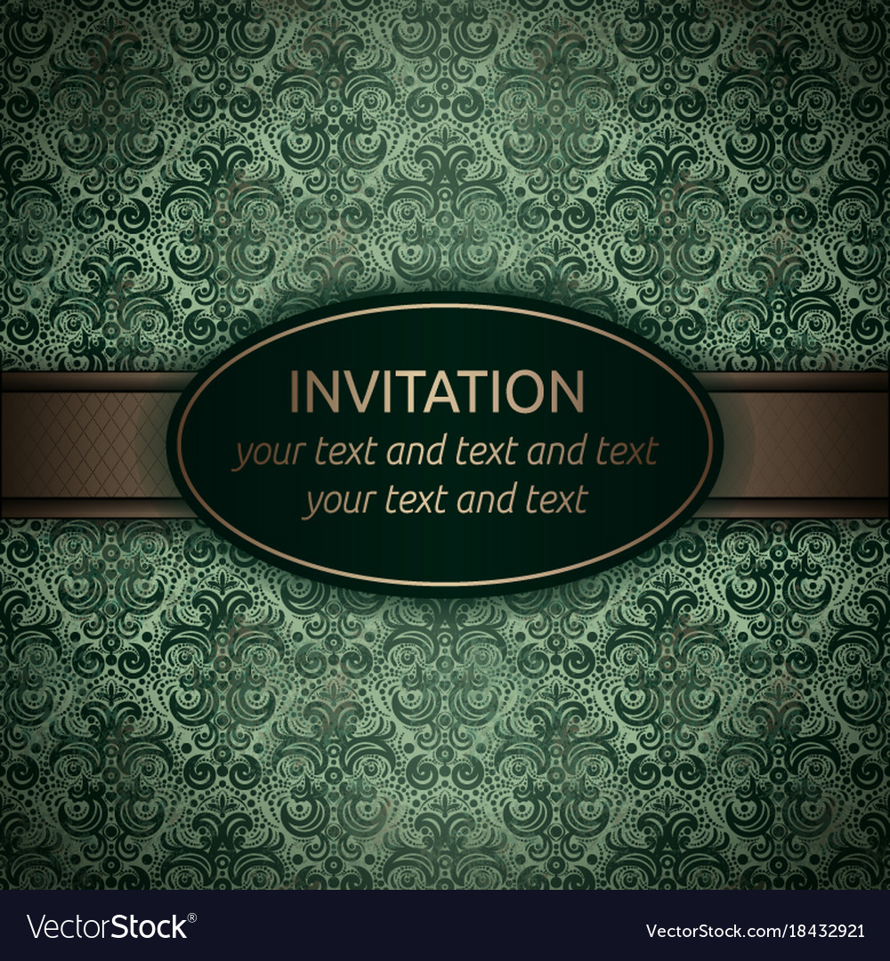 Invitation card in green with gold ribbon vector image stopboris Image collections