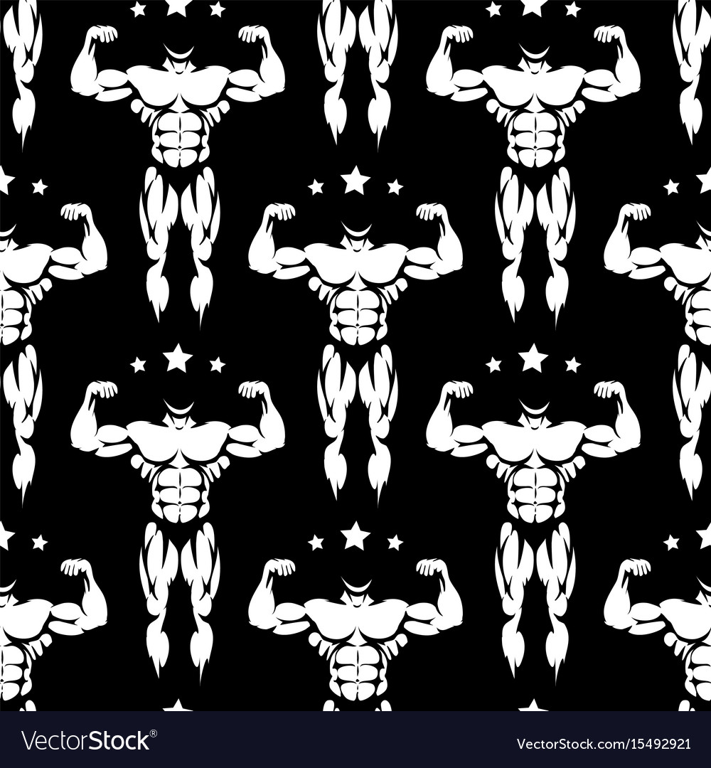 Male athletic body silhouettes seamless pattern