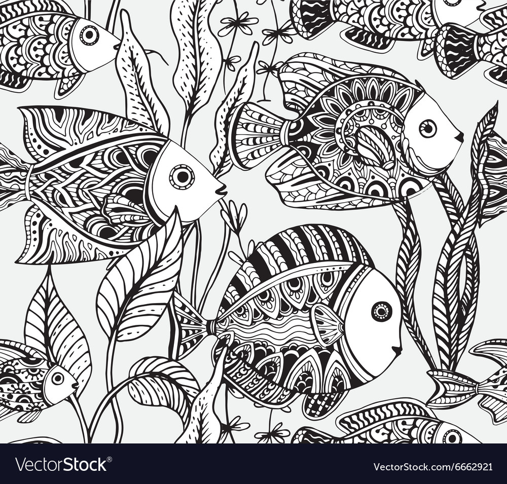 Monochrome seamless sea pattern with tropical