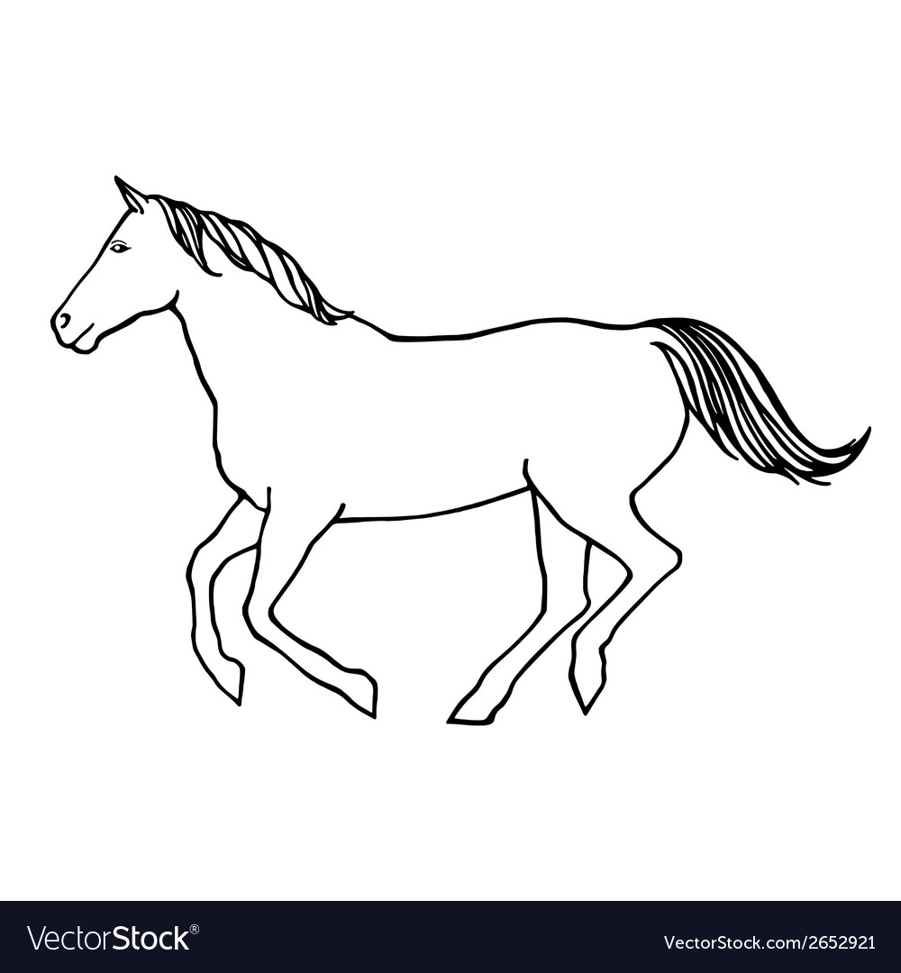 Outline Of Running Horse Vector Image