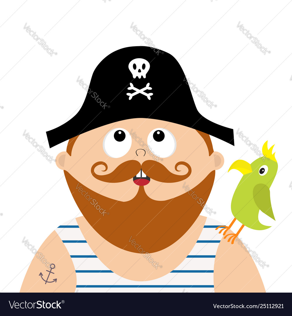 Pirate captain wearing black hat with skull