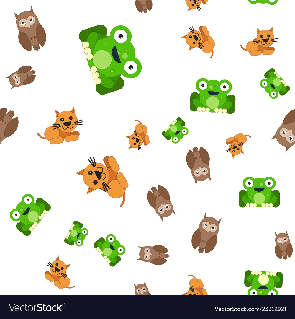 Seamless pattern of frogs cats and owls