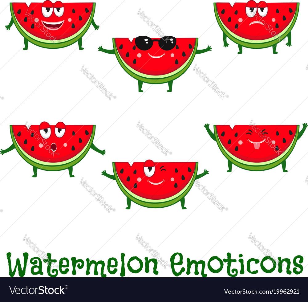Watermelon smiles cute cartoon emoticons vector image