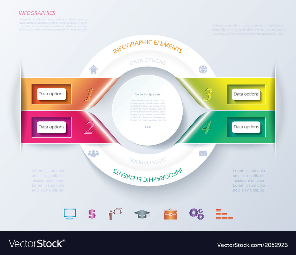 Abstract infographic design with white circle and