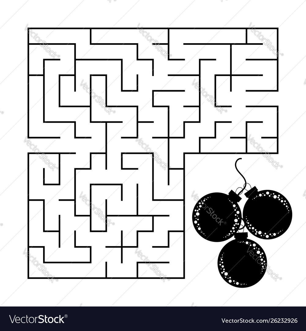 Abstract square maze with a black and white